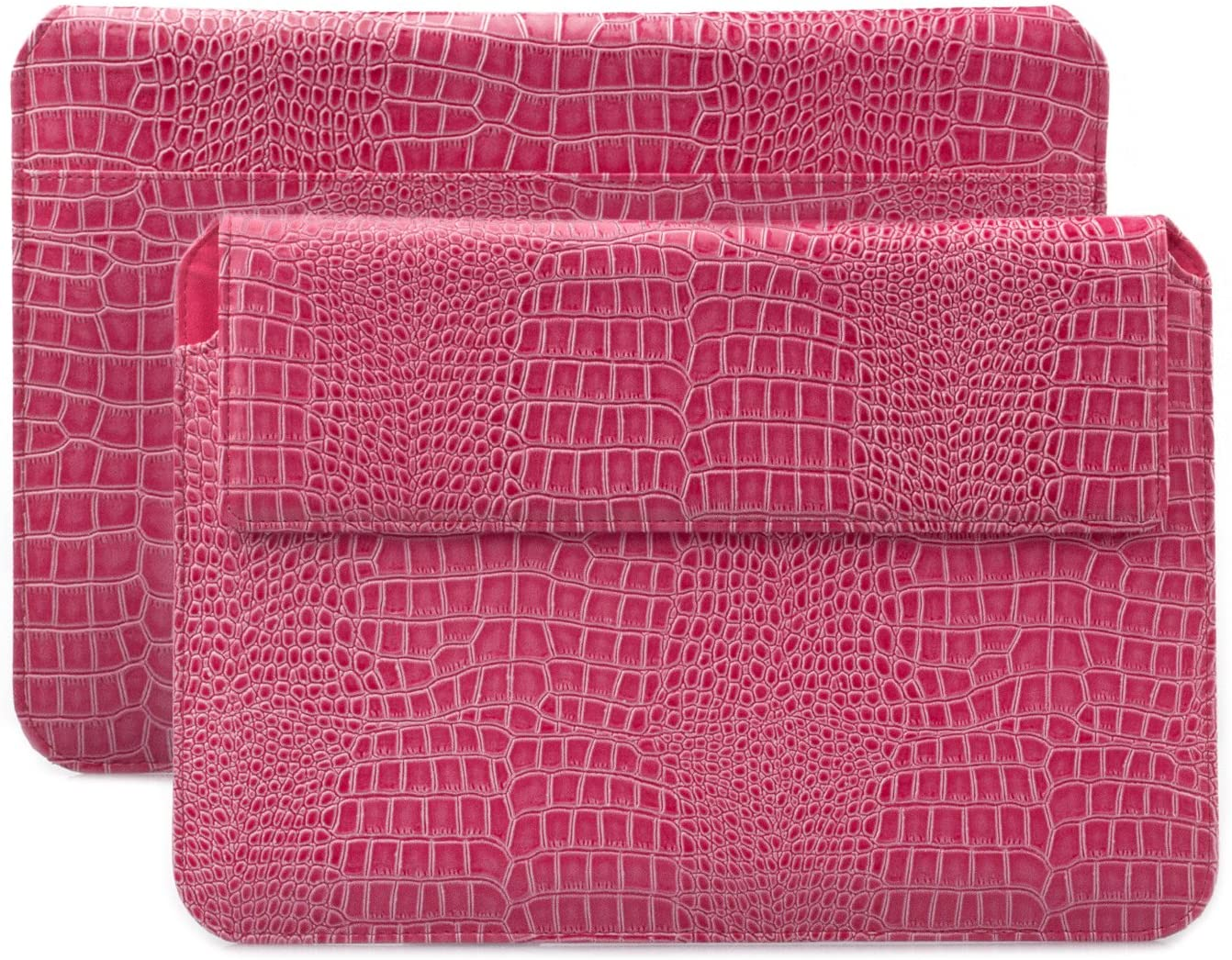 iCues Case for Apple iPad Air, iPad 2017 5th, 2018 6th, iPad Pro 9.7 Sleeve Bag Compatible with Samsung Galaxy Tab S3 S2 for 8.0 to 10.1 inch Tablet Crocodile Magenta Wallet Leather Envelope