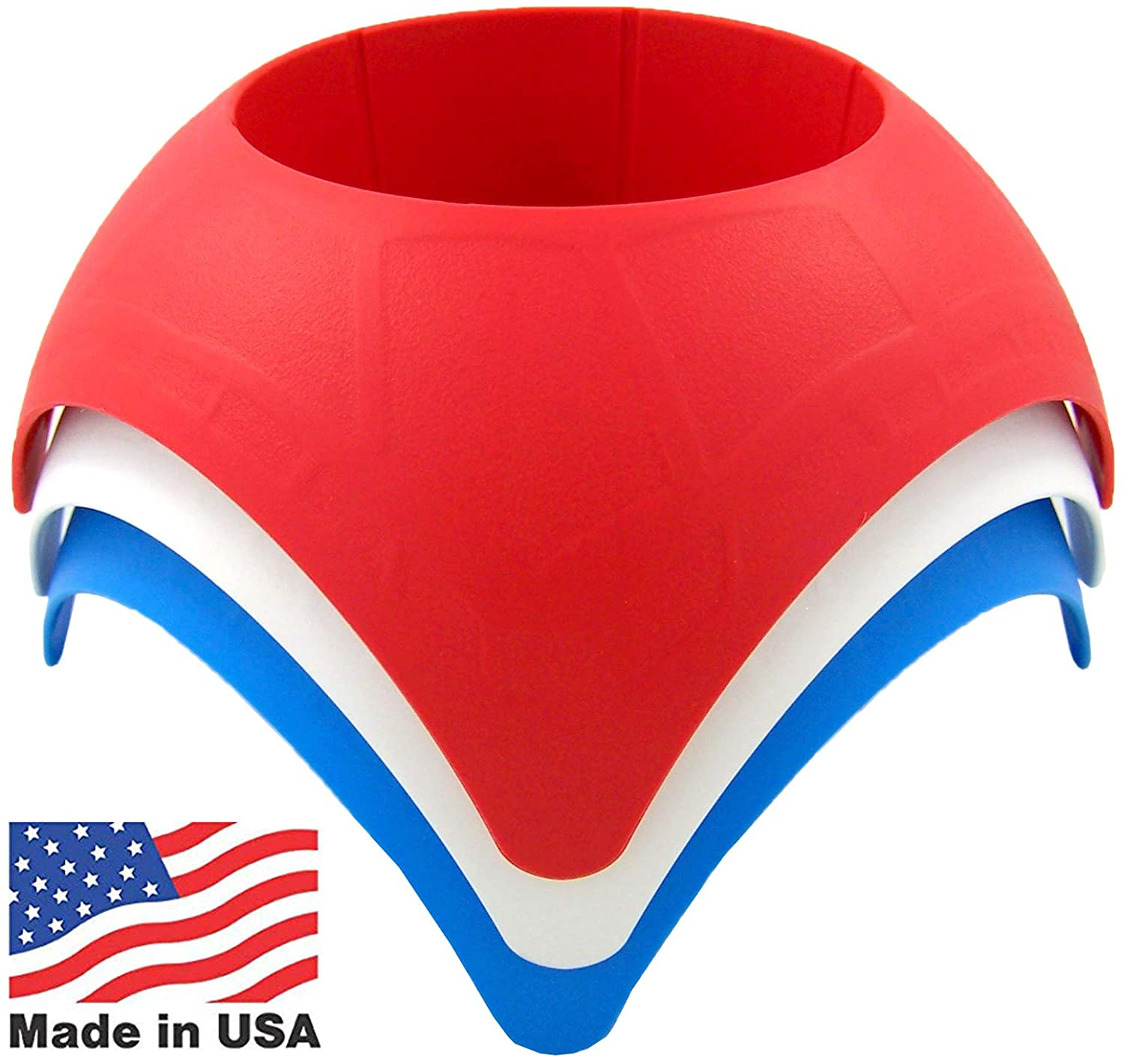 Red, White and Blue Fourth of July Beach Accessory Turtleback Sand Coaster Drink Cup Holder, Pack of 3