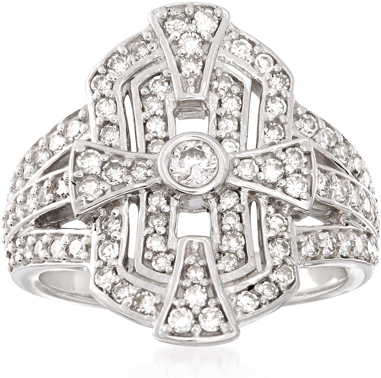 Ross-Simons 1.00 ct. t.w. Diamond Shield Ring in Sterling Silver