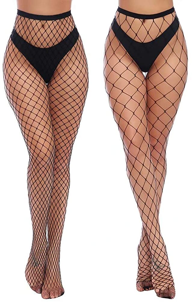 Charmnight Womens High Waist Tights Fishnet Stockings Thigh High Pantyhose
