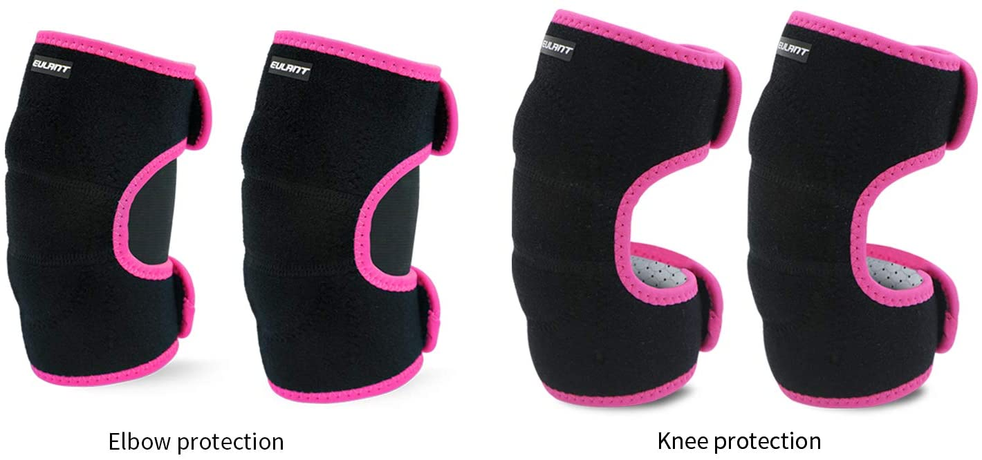 Sborter Adjustable Soft Elbow Pads and Knee Pads for Kids, Child Protective Pad Sets for Bicycle Roller Skating Basketball Football Volleyball Dancing Kneeling