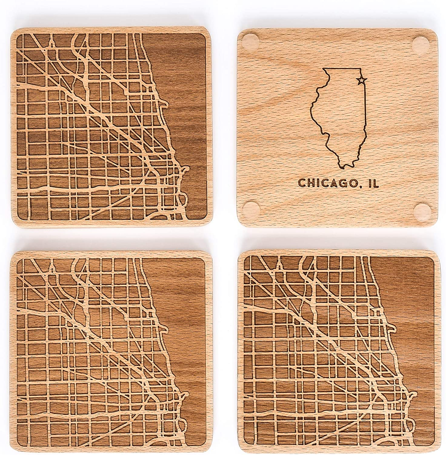 Greenline Goods Beech Wood Coasters Etched Wooden Coaster Set for Chicago Lovers | Set of 4 | Etched with Chicago Map and State of Illinois | 2 Sided | Includes Protective Silicone Furniture Pads