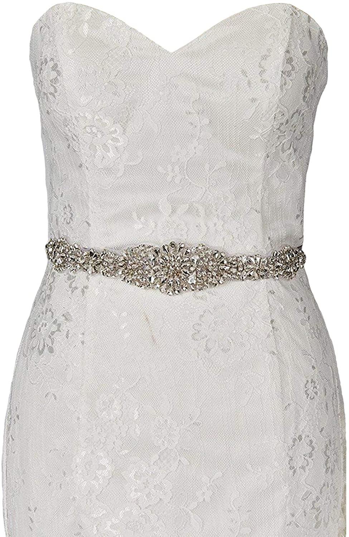 Sisjuly Rhinestone Crystal Sash Wedding Belt For Prom Party Evening Dresses