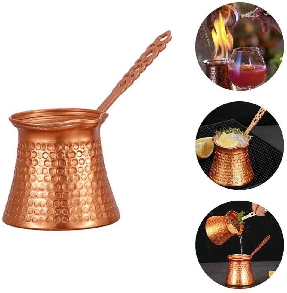 Turkish Coffee Pot, 330ML Turkish Coffee Pot Cip Copper Plated Coffee Warmer Milk Pot with Handle Kitchen Utensil - Turkish Coffee,Tea,Milk Cafeteria & Butter Melting Mini Pot