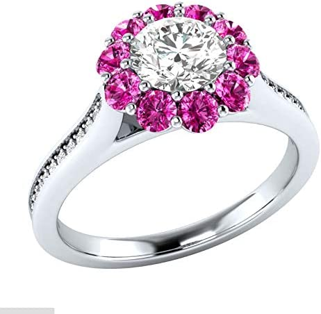 MGZDH Ms. Eternal Flower Ring Simple Women's Zircon Commitment Flower Ring Plated 925 Silver Ring, Red, No. 10