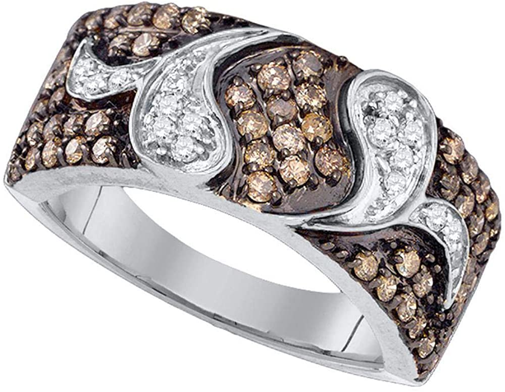 Dazzlingrock Collection 10k White Gold Womens Brown Diamond Cocktail Band Ring 7/8 ctw