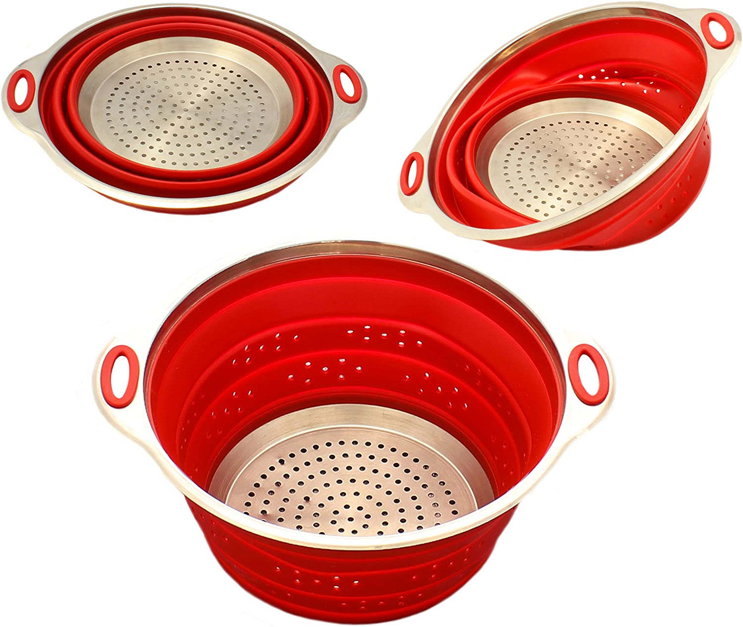 Zoie + Chloe Stainless Steel and Silicone Collapsible Strainer