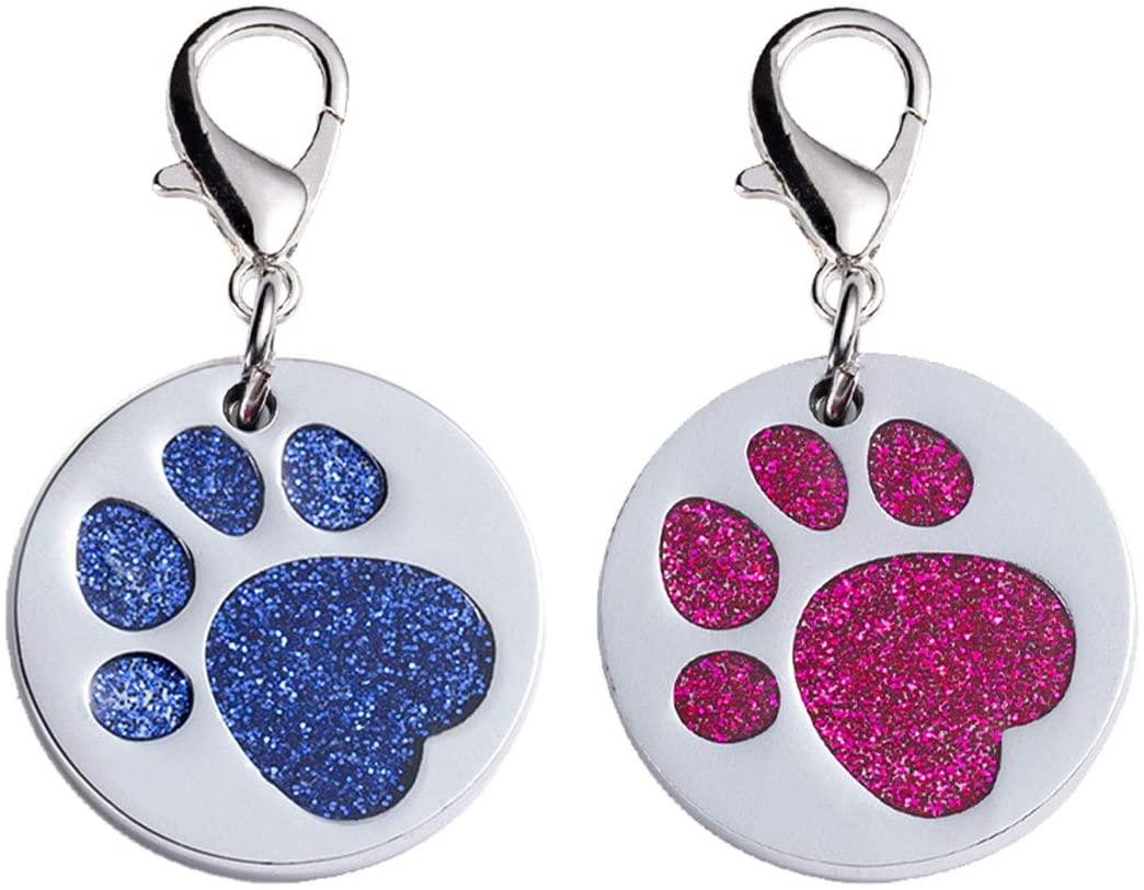N-A Dog Tag, 2 Pcs Round Metal Glitter Paw Print Pet ID(Pink, Blue)