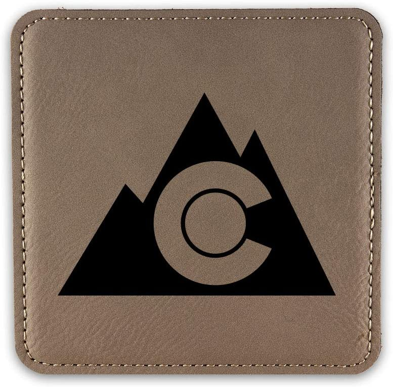 Colorado Mountain Outdoor Drink Coaster Leatherette Coasters CO Denver Boulder Fort Collins - Light Brown - Set of Six Coasters