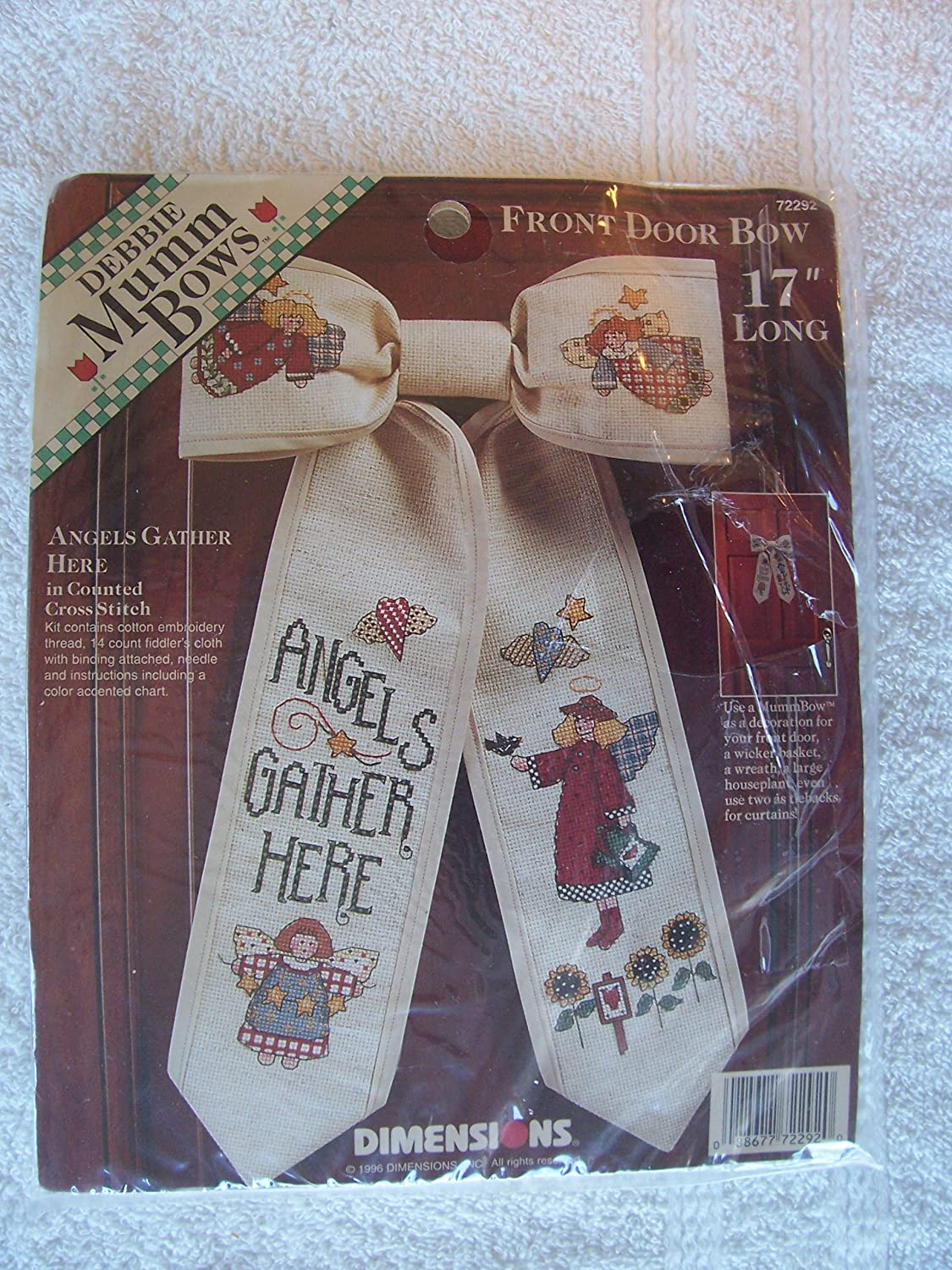 Dimensions Debbie Mumm Front Door Bow Counted Cross Stitch Kit ~ Angels Gather Here