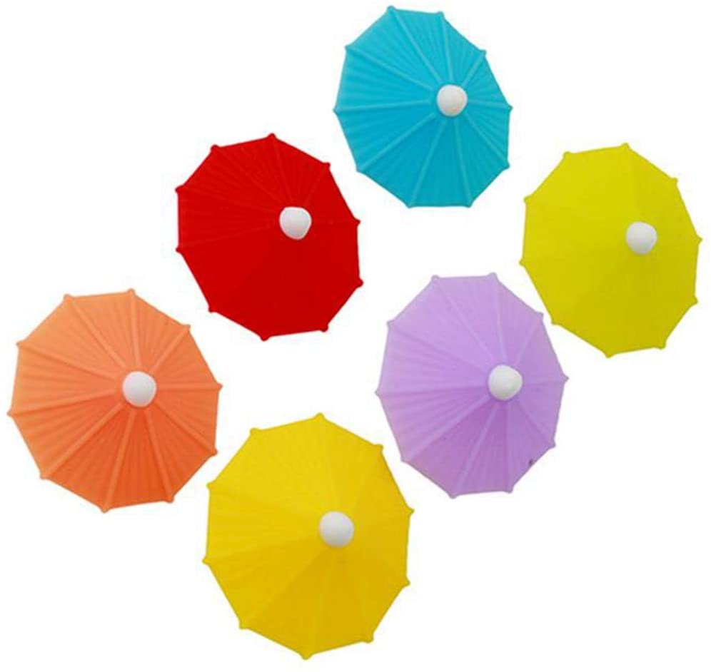 shenjin 6Pcs Creative Umbrella Party Supplies Drink Markers Wine Glass Markers Drink Charms