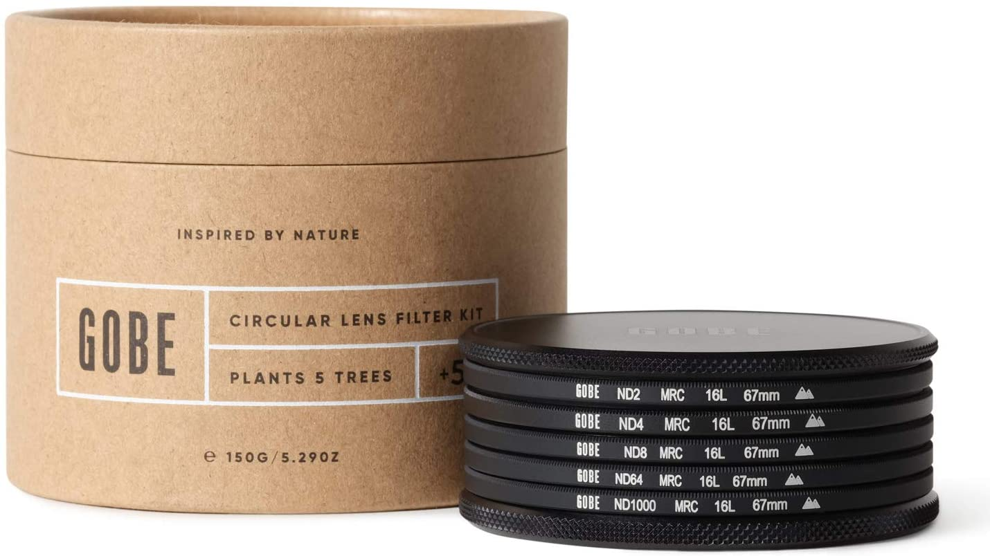 Gobe 67mm ND2, ND4, ND8, ND64, ND1000 Lens Filter Kit (2Peak)