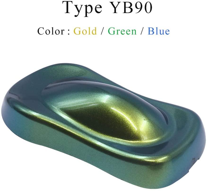 YB90 Gold-Green-BlueChameleonPigments - KINNOAcrylicPaintPowderCoatingChameleonDyeforCarsArts,Crafts,NailsDecoration,10gPaintingSupplies