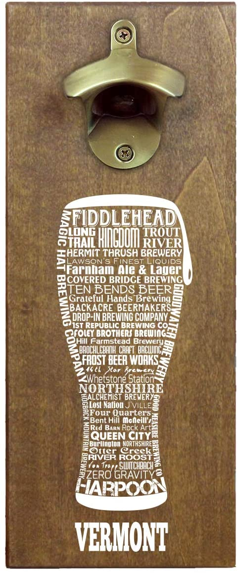 State Craft Beer Typography Wooden Wall Mounted Magnetic Beer Bottle Opener and Cap Catcher (Vermont)
