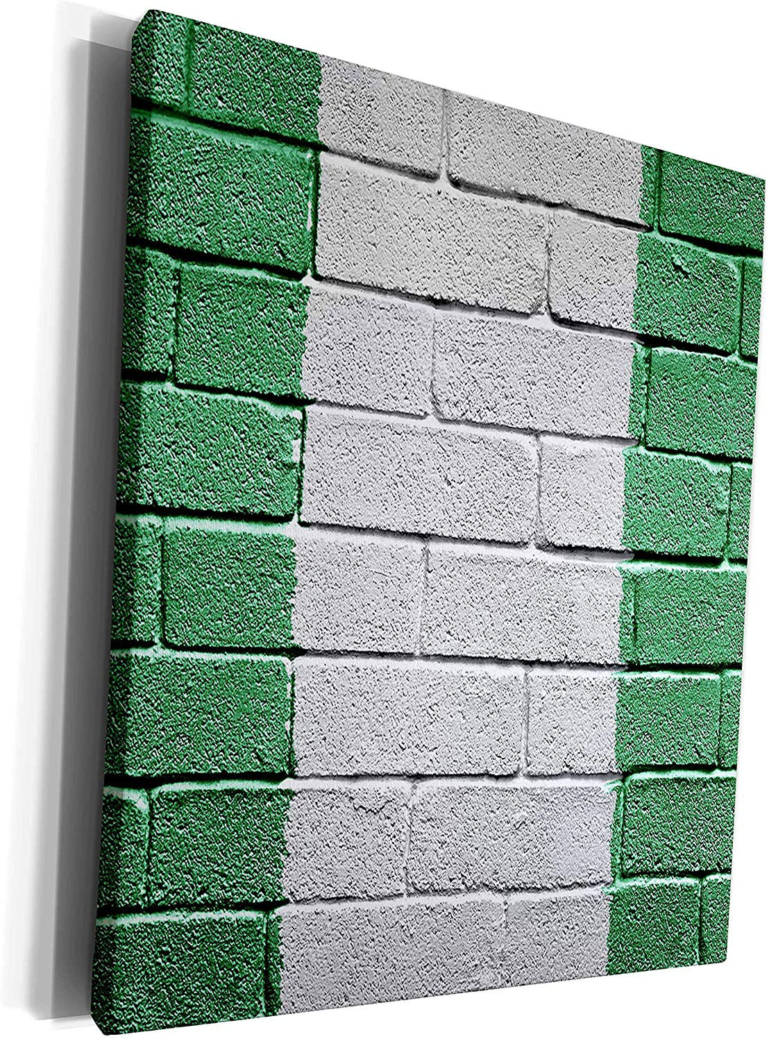 3dRose Carsten Reisinger Illustrations - National flag of Nigeria painted onto a brick wall Nigerian - Museum Grade Canvas Wrap (cw_156958_1)
