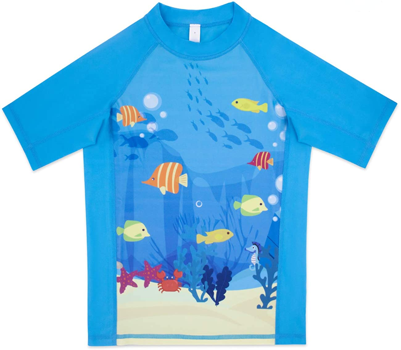 OMGear Kids Rash Guard Short Sleeves Swimsuit Sun Protection Shirt for Swimming Snorkeling