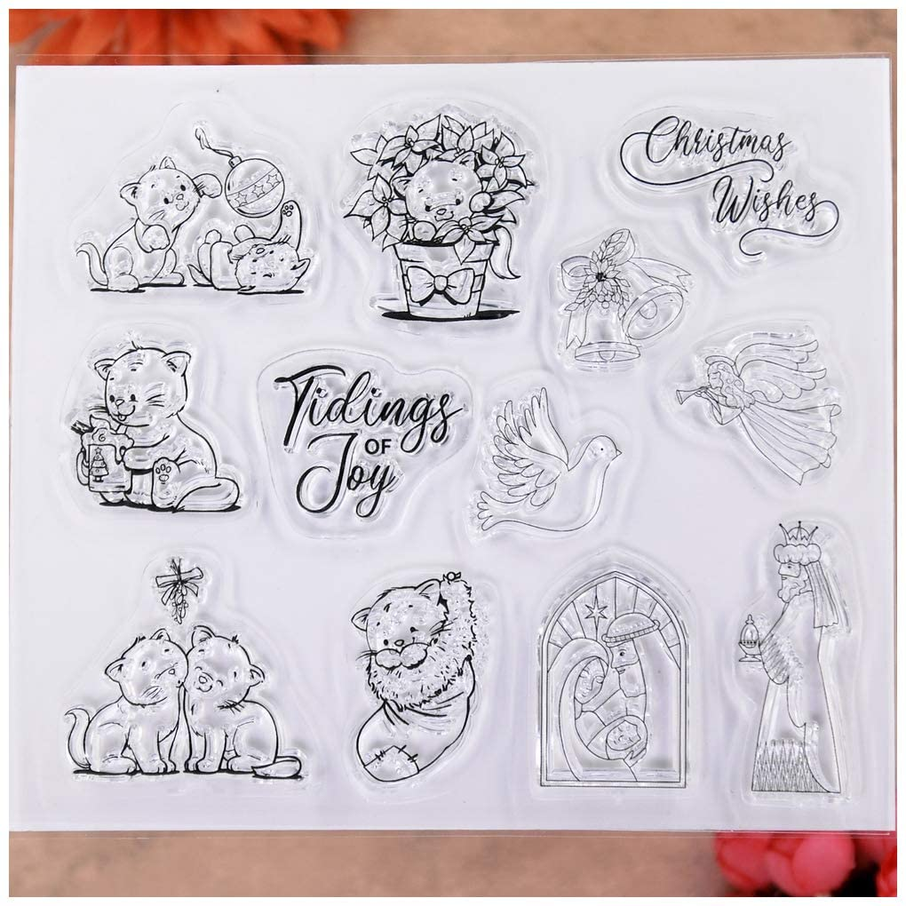 KWELLAM Merry Christmas Wishes Angel Cat Peace Pigeon Clear Stamps for Card Making Decoration and DIY Scrapbooking