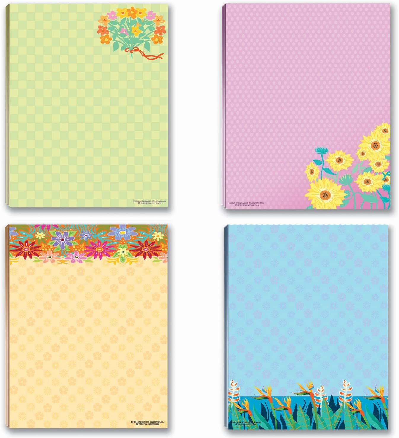Floral Notepads - 4 Assorted Note Pads - Flower Theme Pads