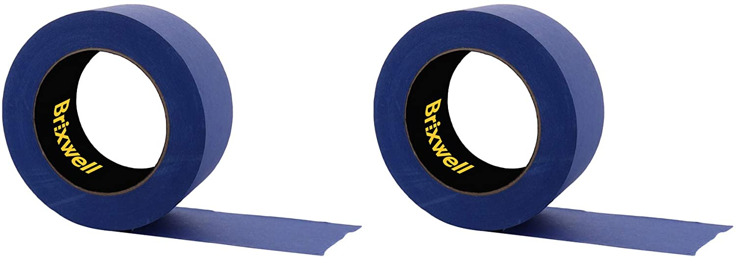 Brixwell 2 Rolls - Pro Blue Painters Masking Tape 2 Inch x 60 Yard Made in the USA