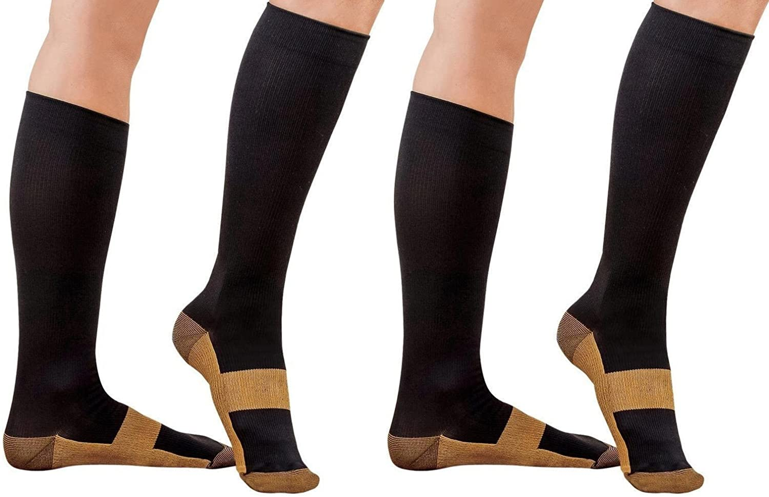 2 Pair Sirosky Compression Copper Socks Graduated 20-30 mmHg Anti Fatigue Support Sock Feet Foot Ankle Pain Relieving Ache Relief for Men Woman Over the Calf Below Knee High (Black/Gold-2PR, Sm/Med)