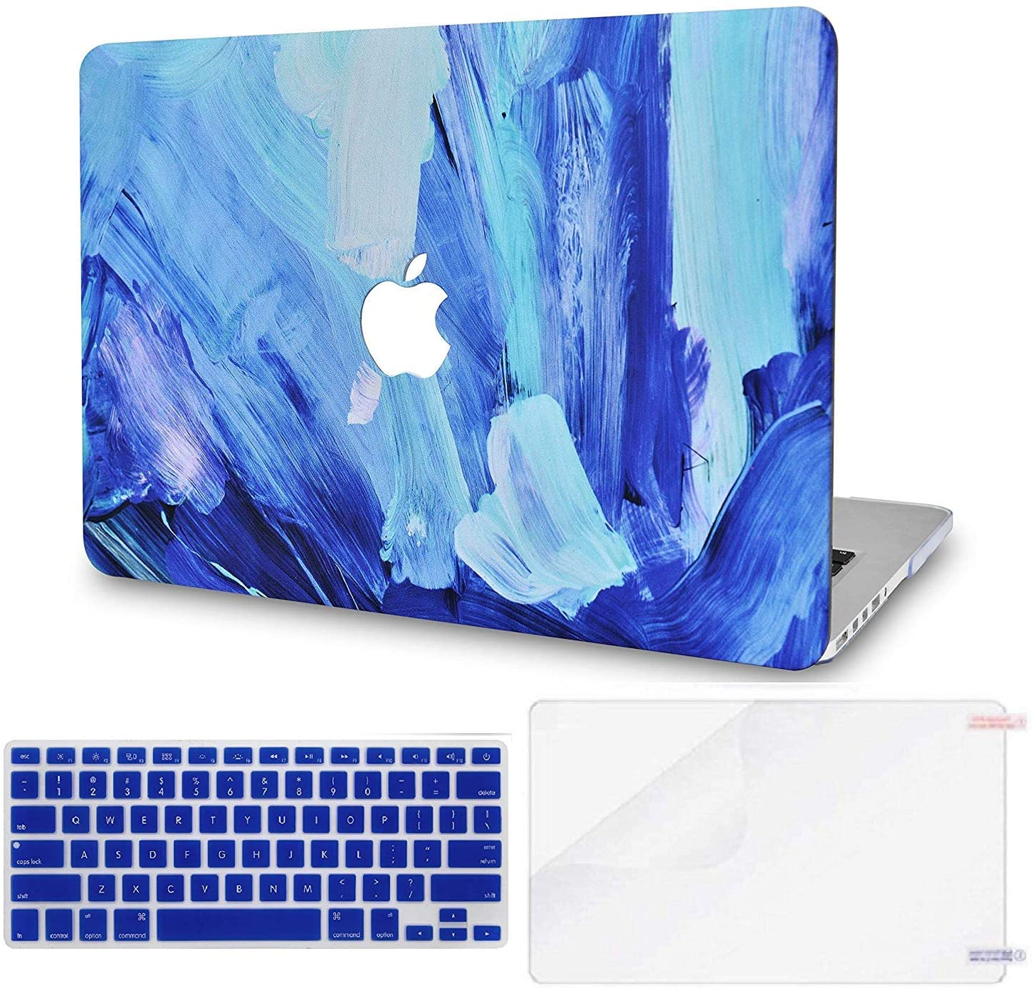 LuvCase 3 in 1 Laptop Case for MacBook Pro 15 Touch Bar (2019/2018/2017/2016) A1990/A1707 Hard Shell Cover, Keyboard Cover & Screen Protector (Oil Paint 5)