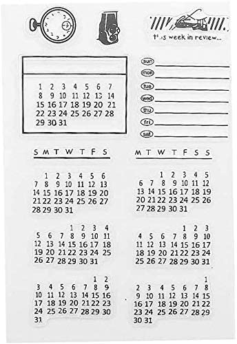 JAZZUP Clear Stamp Mixed Calendar Planner Clear Transparent Rubber Silicone Stamps Seal Block for Journaling, DIY Scrapbooking and Photo Album Decoration (Black)
