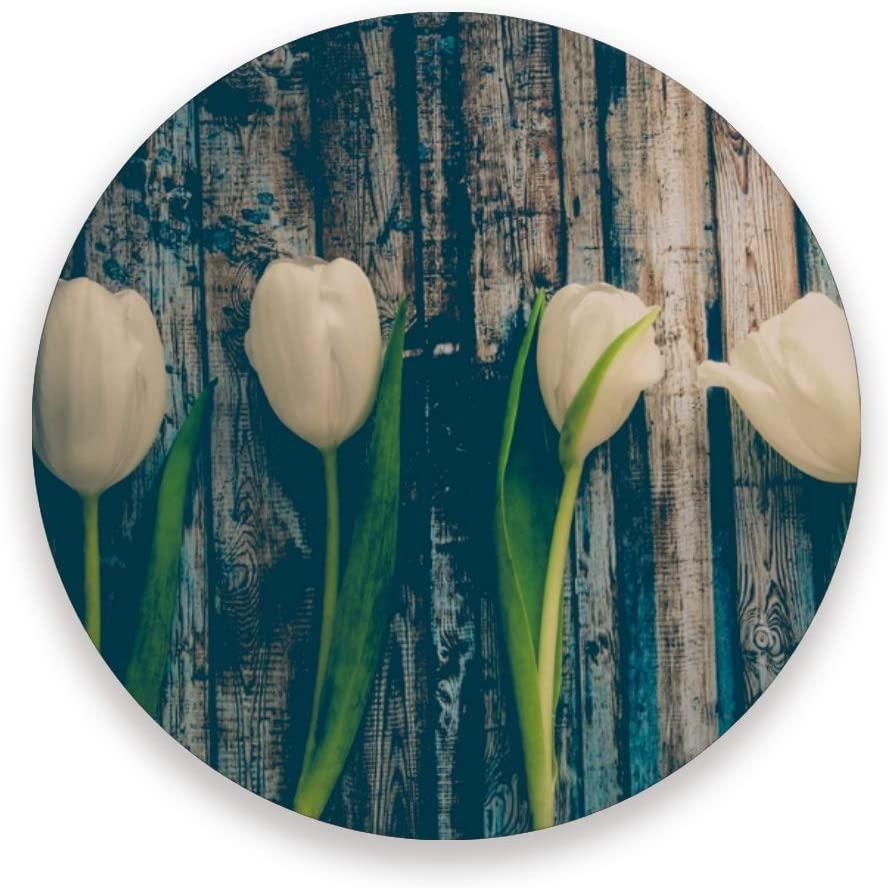 Umidedor Coasters for Drinks Tulip Flower Vintage wood Absorbent Ceramic Coaster Sets of 4, Housewarming Gift Living Room Kitchen Bar Office Decor