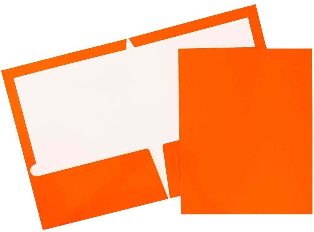 JAM PAPER Laminated Two Pocket Glossy Folders - Orange - 6/Pack