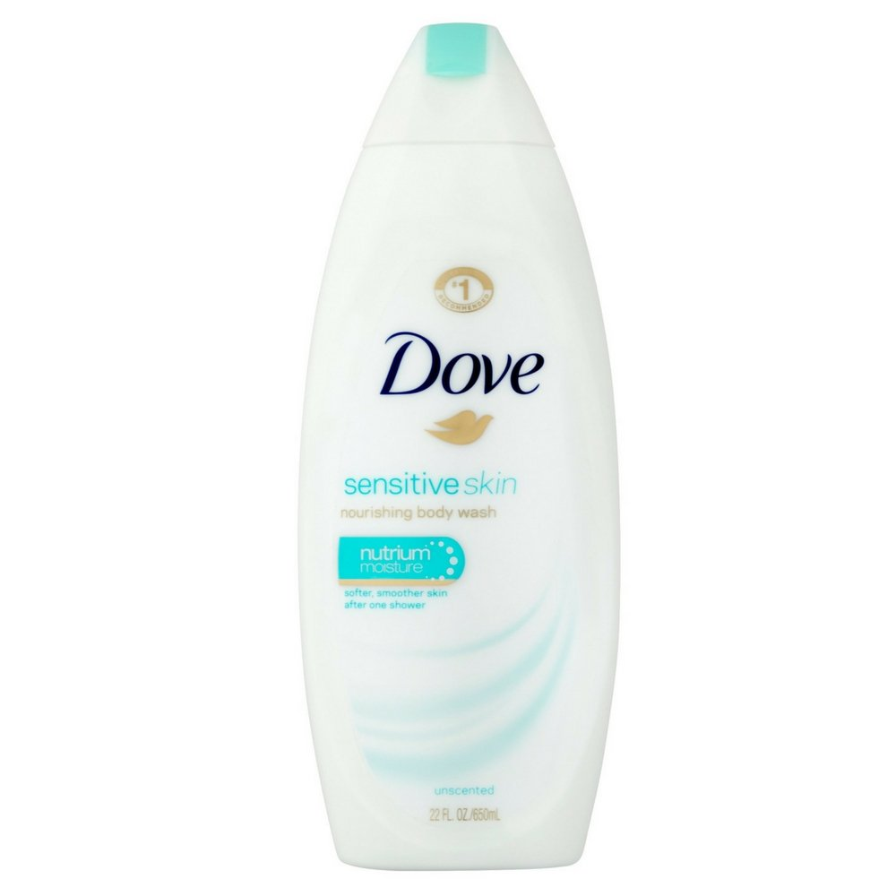 Dove Sensitive Skin Nourishing Body Wash, Unscented 22 oz (5 Pack)