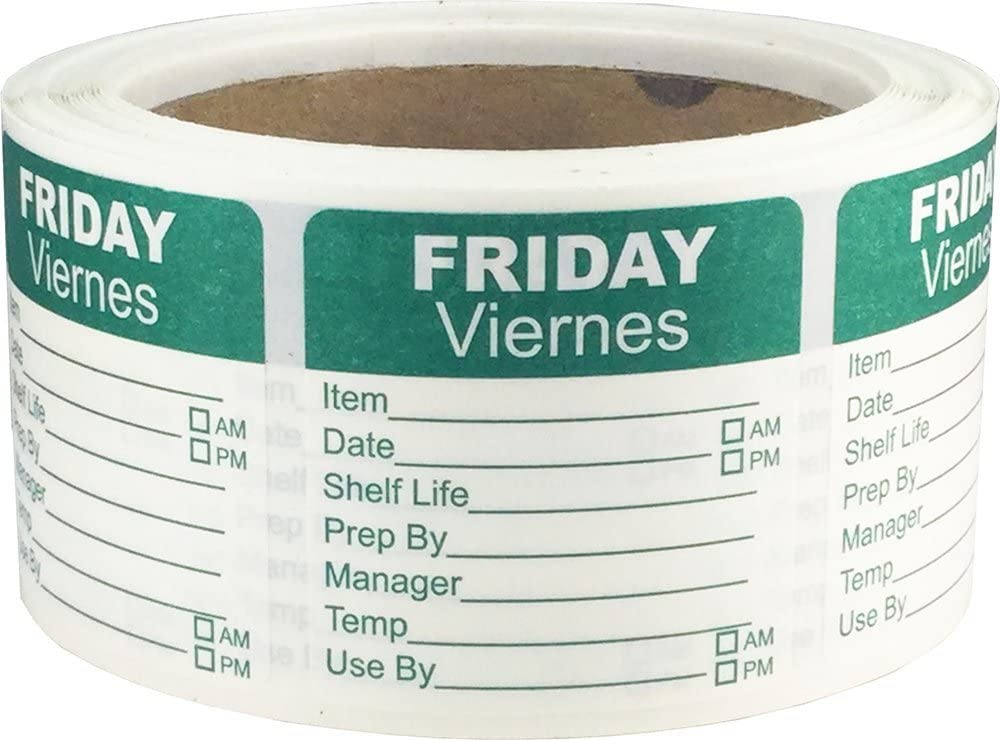 InStockLabels Dissolvable Day of The Week Shelf Life Labels Friday/Viernes 2 Inch Square 500 Adhesive Stickers, Green