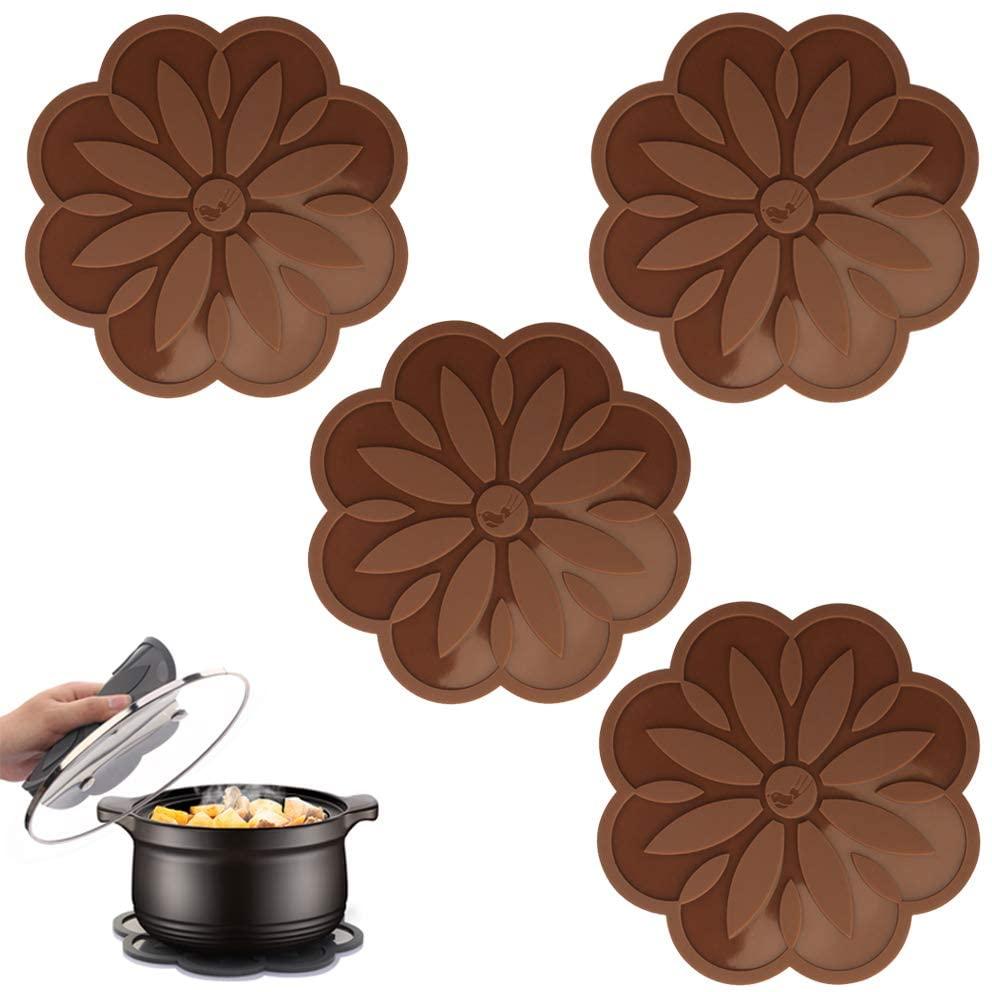 ME.FAN Silicone Trivet Mat [4 Set] Centaury Pot Holders, Hot Pads For Pots & Pans, Jar Opener, Spoon Rest & Coasters Heat Resistant Non Slip Flexible & Durable - Diameter:6.7 (Coffee)