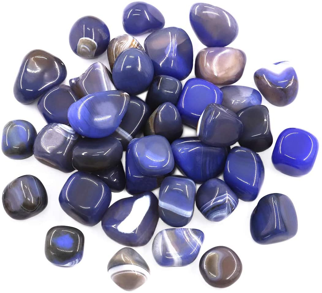 Hilitchi Blue Agate Stone Tumbled Stones for Plants Cacti & Succulents Bedding, Vase Filler, Landscape Bottom Decoration (About 1lb(455g)/Bag)