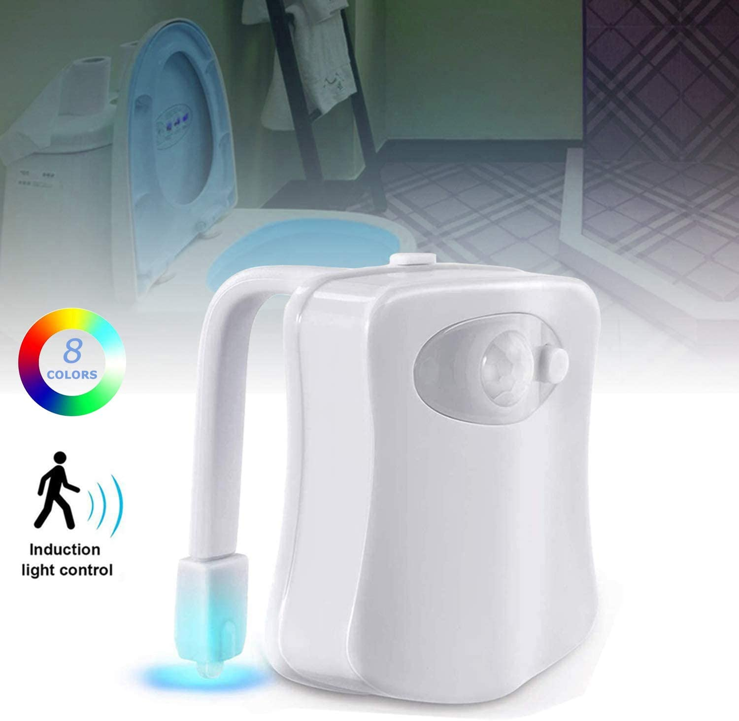 The Original LED Toilet Lights Motion Detection, Motion Sensor Activated 8 Color Changing Inside Toilet Bowl Night Light for Bathroom, Perfect Decorating Gift for Men Dad Kids, Toddlers Potty Training