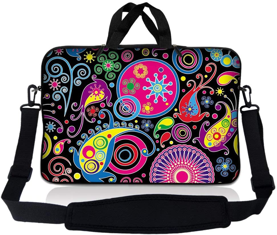 LSS Compatible with Acer, Asus, Dell, HP, Sony, MacBook and more - Art Design 14 inch Laptop Sleeve Bag with Adjustable Handle   Carrying Case with Soft Wide Padded Strap