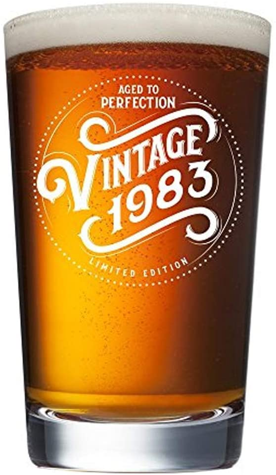 1983 37th Birthday Gifts for Men and Women Beer Glass - 16 oz Funny Vintage 37 Year Old Pint Glasses for Party Decorations - Anniversary Gift Ideas for Dad, Mom, Husband, Wife - Best Craft Beers Mug