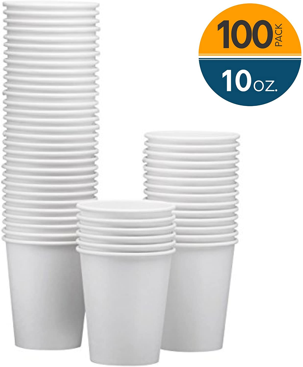 NYHI 100-Pack 10 oz White Paper Disposable Cups – Hot/Cold Beverage Drinking Cup for Water, Juice, Coffee or Tea – Ideal for Water Coolers, Party, or Coffee On the Go'