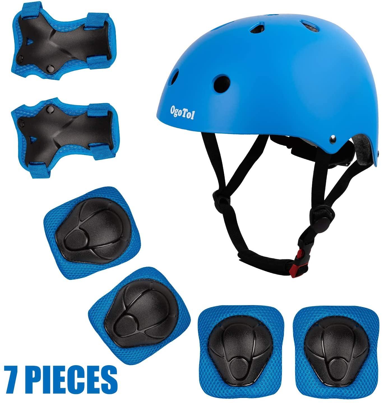 Ogotol Kids Protective Gear Set Toddler Bike Helmet for 3-8 Years Boys Girls Adjustable Helmet Kids Knee Elbow Pads Wrist Guards Pads for Skateboard Cycling Scooter Rollerblading