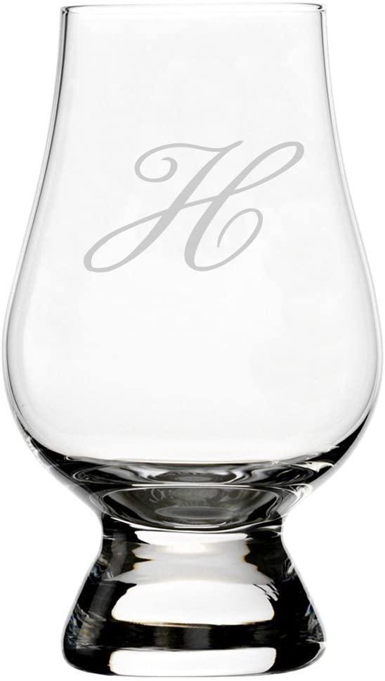 Bix Script Etched Monogram Glencairn Crystal Whisky Glass (Letter H)