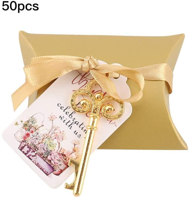 Keys Bottle Opener, Bottle Opener with Escort Tags Card Silk Ribbon Gift for Wedding Festival Decor(Gold)