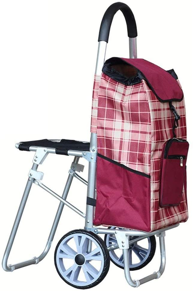 HLL Trolley,Multifunction Portable Hand Trucks Shopping Cart,Travel Portable Elderly Can Take Collapsible Aluminum, Bearing About 40Kg