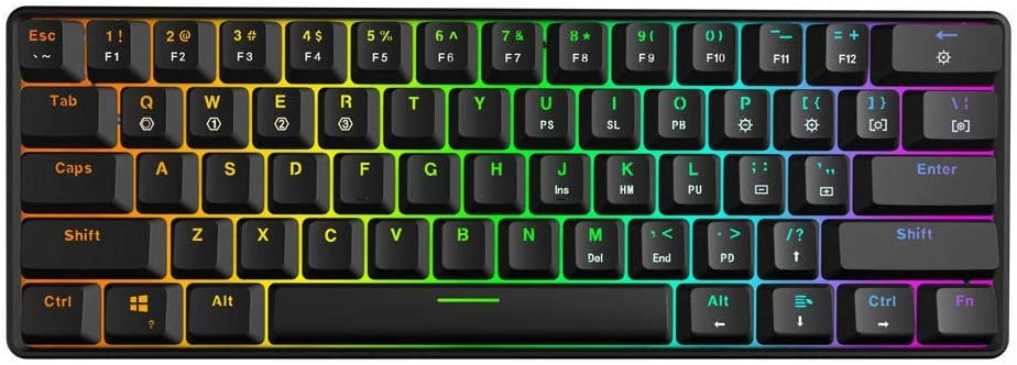 AiKuJia Keyboard 61Key Optical Axis RGB Waterproof Mechanical Keyboard Type-c Programmable Gaming for Gaming and Typing (Color : Black, Size : Brown Switch)