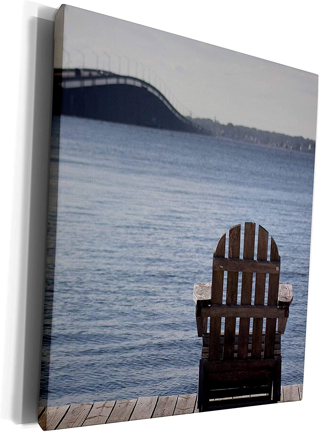 3dRose Stamp City - landscape - Relax on an adirondack chair on the dock overlooking the Barnegat Bay. - Museum Grade Canvas Wrap (cw_295244_1)