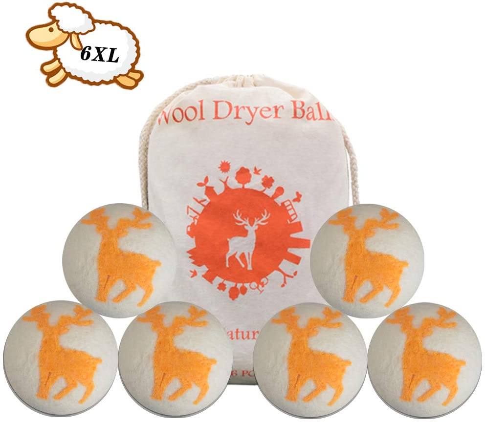 Wool Dryer Balls-Organic Natural Wool for Laundry,Dryer Sheets Alternative,No Chemicals and Safe for Babies,Reusable Natural Fabric Softener Accelerate Drying Time,Prevent Static (6 Packs)