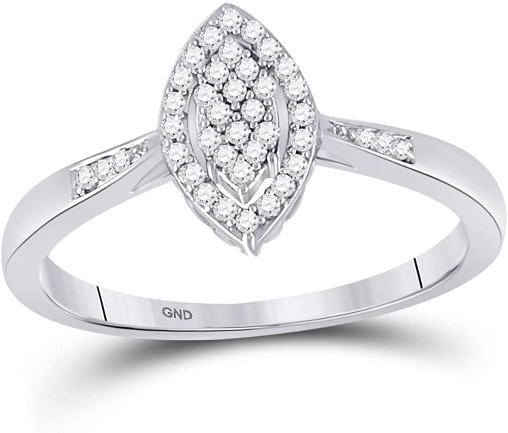 Dazzlingrock Collection 10kt White Gold Womens Round Diamond Oval Cluster Ring 1/8 ctw