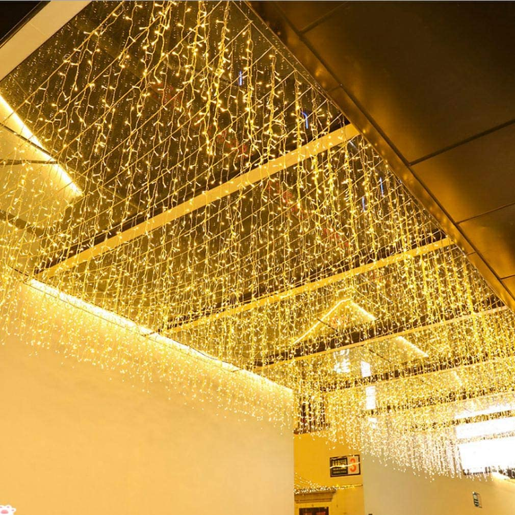 FTON LED Icicle Lights, 16.4FT 216 LEDs Fairy String Lights Plug in Extendable Curtain 8 Modes Decorative Wave Twinkle Christmas Lights for Shopping Mall Hotel Bar Yard Wedding(Warm White,5M)