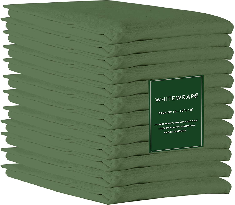WHITEWRAP Cotton Napkins |100% Ring Spun Natural Cotton, 12- Pack Green, 18