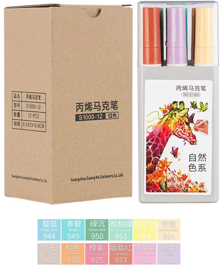 minansostey 12 Colors Acrylic Paint Art Marker Pen for DIY Graffiti Glass Ceramic Art Painting Drawing Stationery