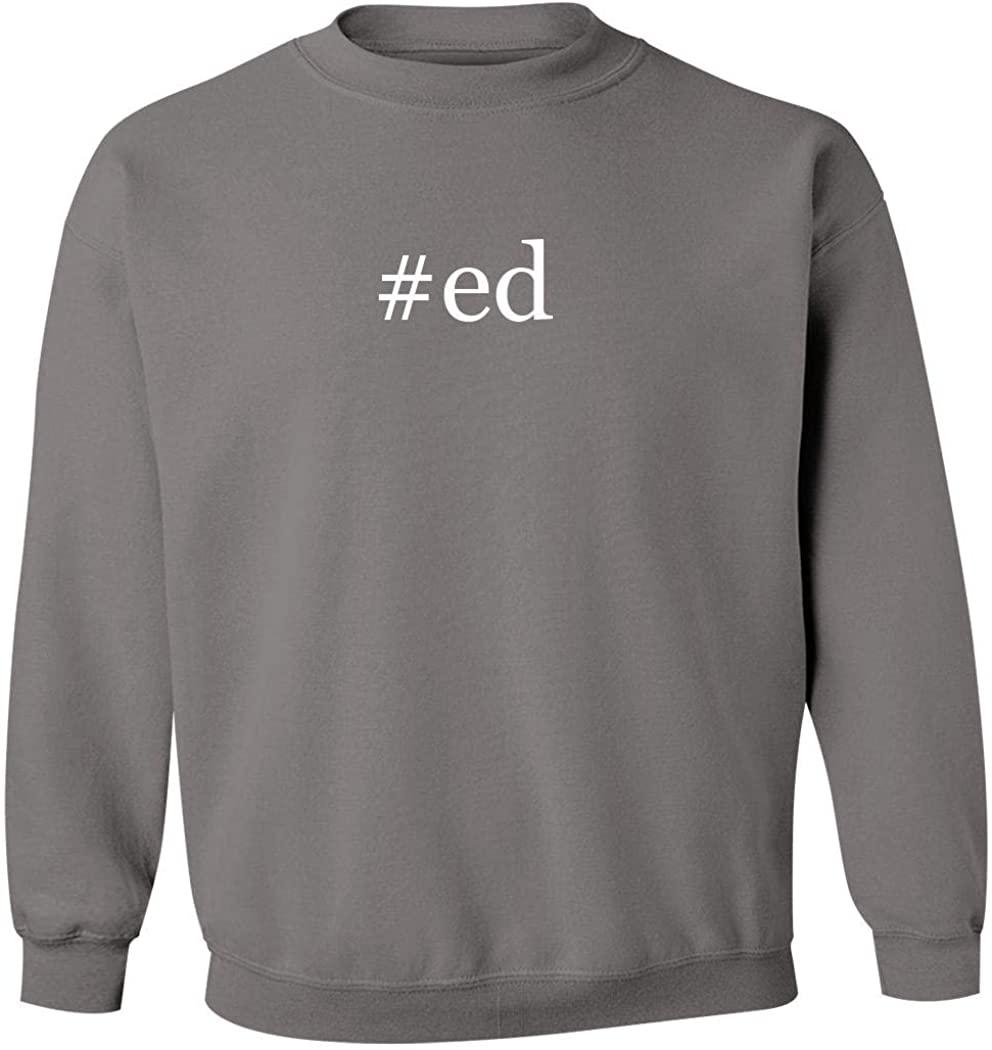 #ed - Men's Hashtag Pullover Crewneck Sweatshirt, Grey, Medium