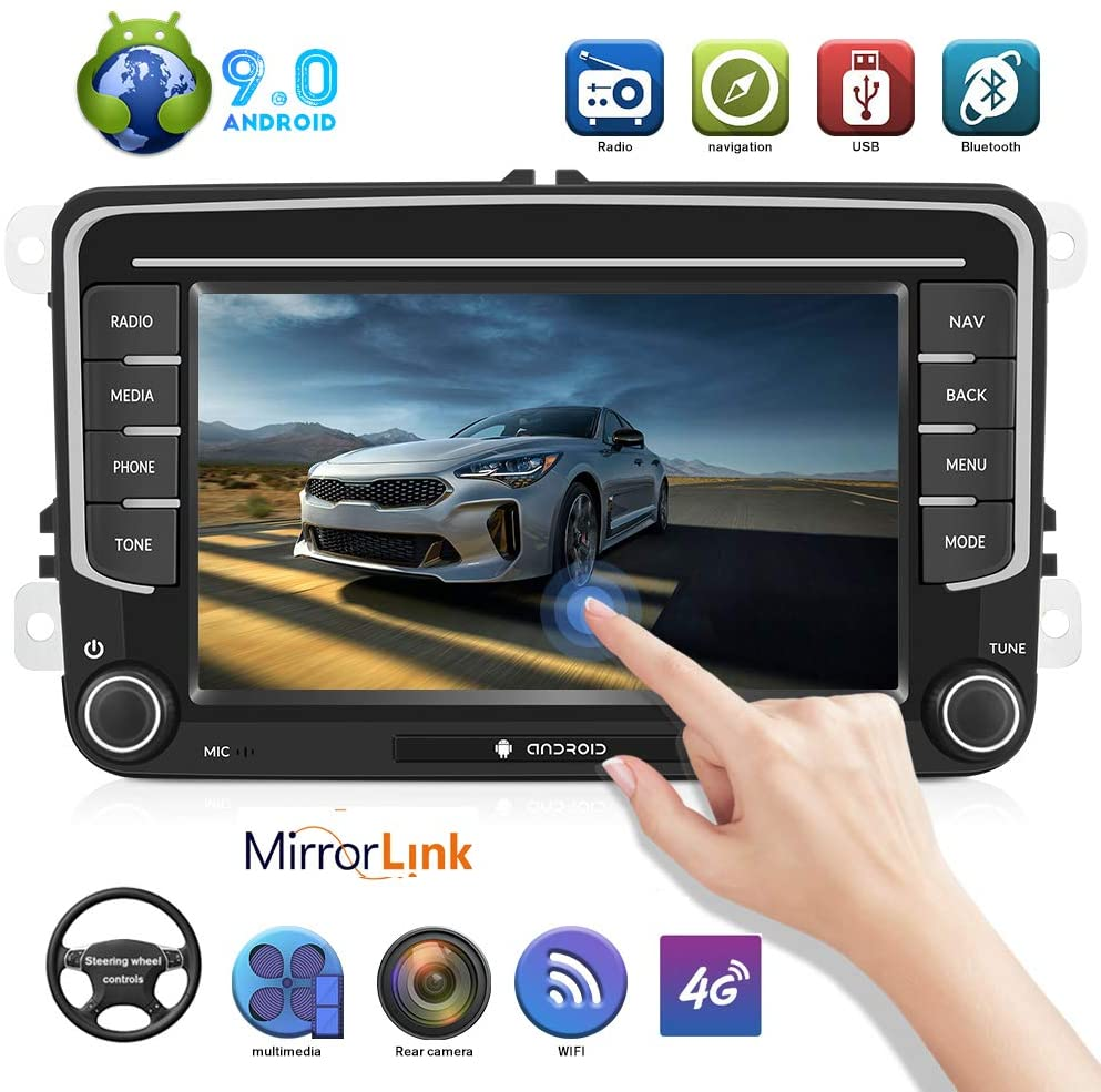 Android 9.0 Car Radio for VW Passat Golf MK5 MK6 Jetta T5 EOS Polo Touran Seat Sharan 7 inch AM FM WiFi Mirror Link GPS Navigation Stereo Touch Screen Car Radio with Bluetooth USB Indash Car Audio
