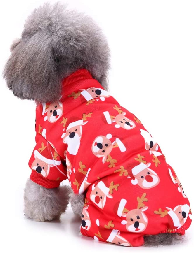BWOGUE Small Pet Dogs Christmas Costumes Cute Snowman Snowflake Xmas Pet Clothes for Dog Pajamas Soft Suit Shirts,Small